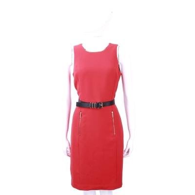 Michael Kors 紅色金屬項圈飾無袖洋裝(附腰帶)