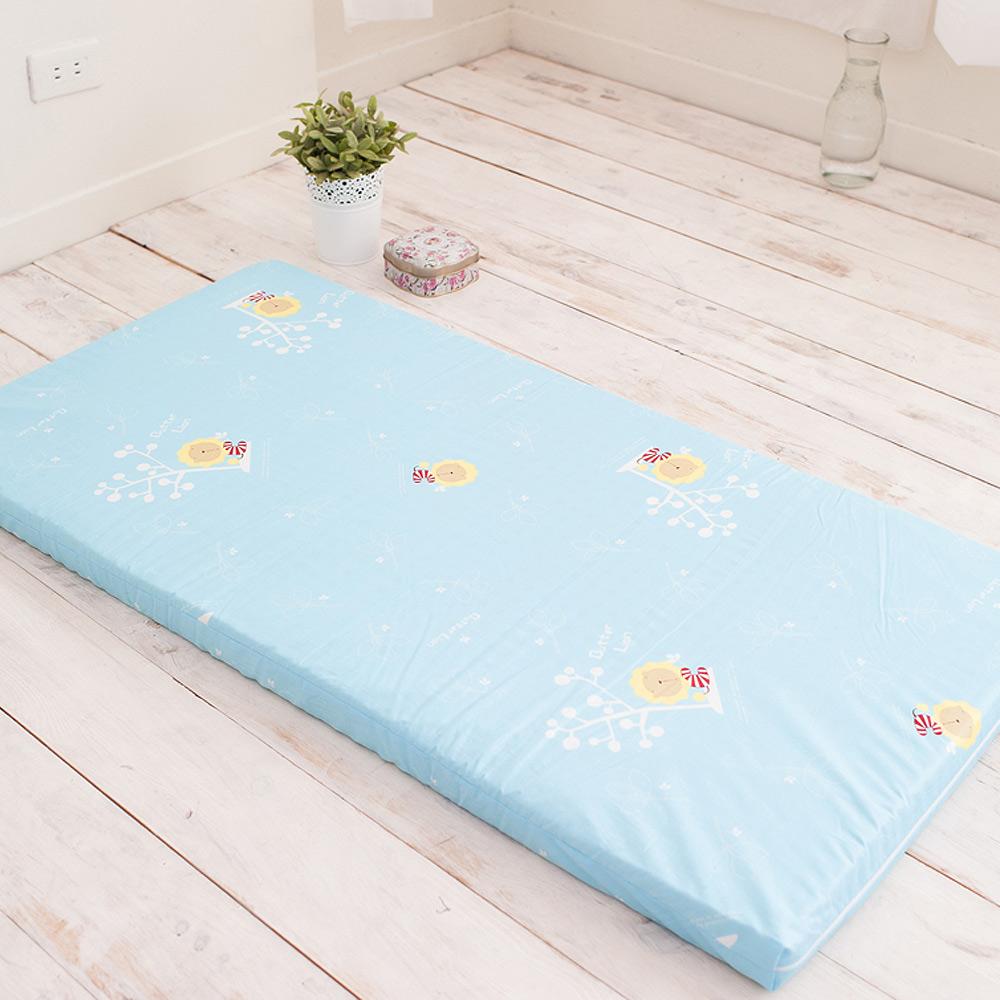 奶油獅-平面透氣100%精梳純棉嬰兒備長碳記憶床墊(粉藍)