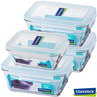 Glasslock強化玻璃微波保鮮盒 - 大容量長方4件組