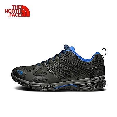 The North Face北面男款黑藍戶外徒步登山鞋