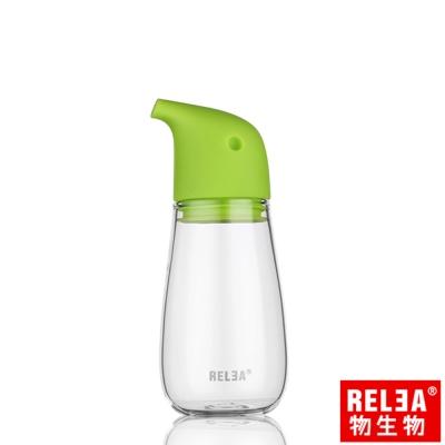香港RELEA物生物 220ml企鵝玻璃油壺(草綠色)