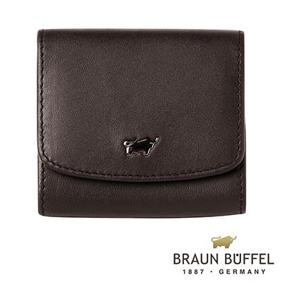 BRAUN-BUFFEL-HANS漢斯系列方形壓扣零錢包-摩卡棕