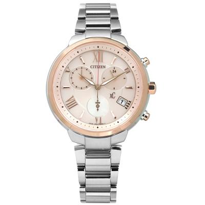CITIZEN  XC 光動能計時日期防水鈦金屬手錶-銀粉x玫瑰金框/35mm