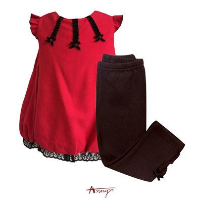 Annys鮮豔飛飛袖花苞蕾絲擺Baby套裝*5287紅