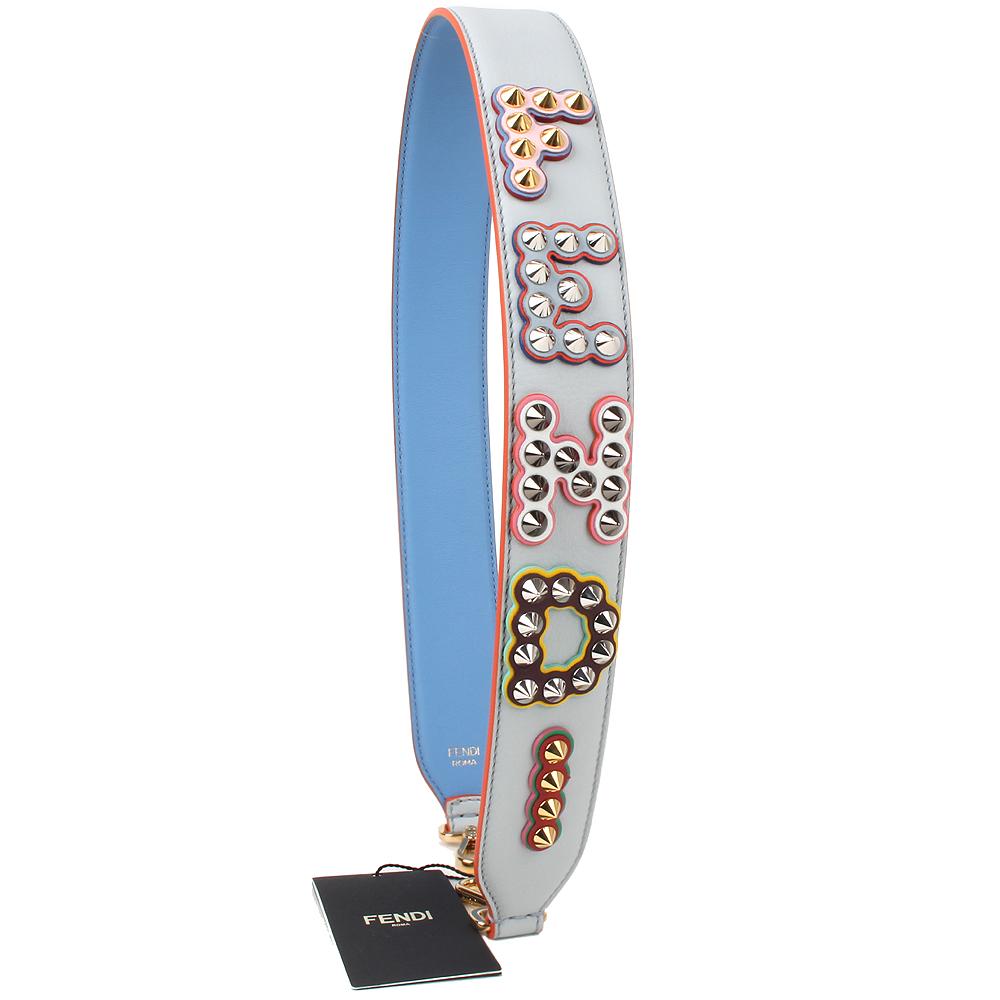 FENDI strap you系列字母鉚釘造型皮革金釦肩背帶(丹寧藍)