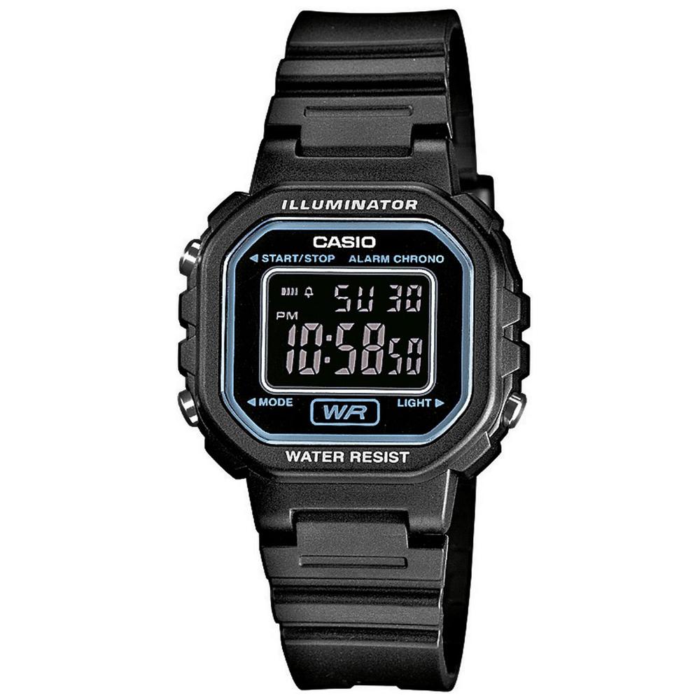 CASIO 黑色炫風方形電子錶(LA-20WH-1B)-黑面/30.4mm