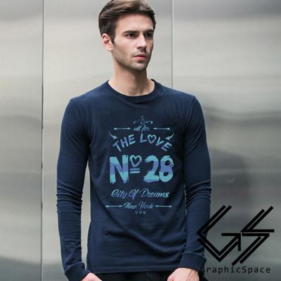 藍色字母28號磨毛水洗長袖T恤 (共三色)-GraphicSpace