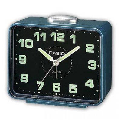 CASIO 夜間指針桌上方型簡約鬧鐘(TQ-218-2)-藍X黑面