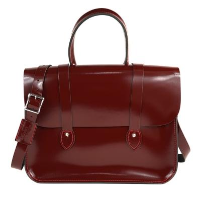 The Leather Satchel 英國手工牛皮音樂包 手提 肩背包 浪漫紅