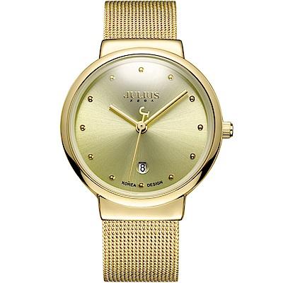 JULIUS聚利時 淬鍊風華簡約不鏽鋼米蘭帶腕錶-金色/38mm