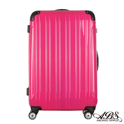 ABS愛貝斯 26吋 隨箱式TSA海關鎖鏡面硬殼箱 專利雙跑車輪(艷桃紅)99-047B