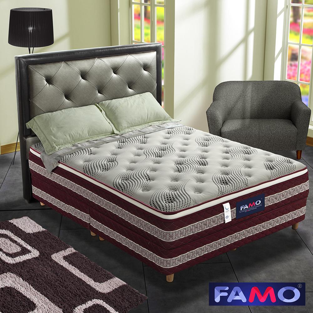 法國FAMO三線加高 背康 硬式床墊 針織+銀離子+記憶膠麵包床 單人3.5尺