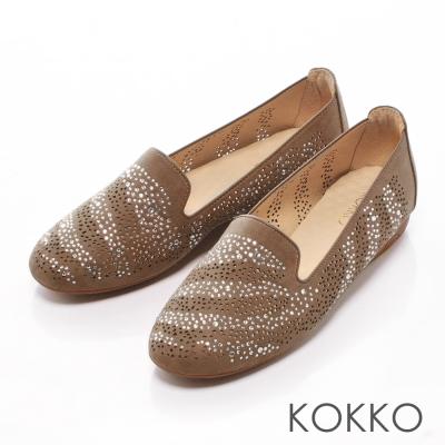 KOKKO- 奢華水鑽輕量懶人休閒鞋 - 咖啡