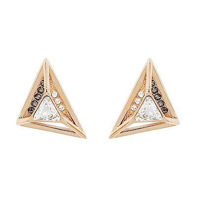 SWAROVSKI 施華洛世奇 璀璨黑白水晶不對稱三角玫瑰金耳環