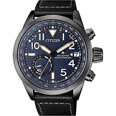 CITIZEN 星辰限量GPS衛星對時光動能手錶-藍x黑/44mm(CC3067-11L)