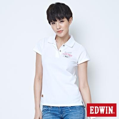 EDWIN-BLUE-TRIP斑駁貼布POLO衫-女-白色