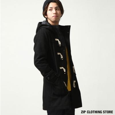 防潑水長版羊毛牛角釦外套 ZIP日本男裝
