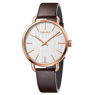 CK CALVIN KLEIN Even 超然系列鍍PVD玫瑰金白面手錶-42mm