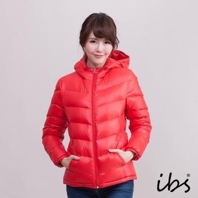 ibs 極暖經典款連帽羽絨外套-紅-女