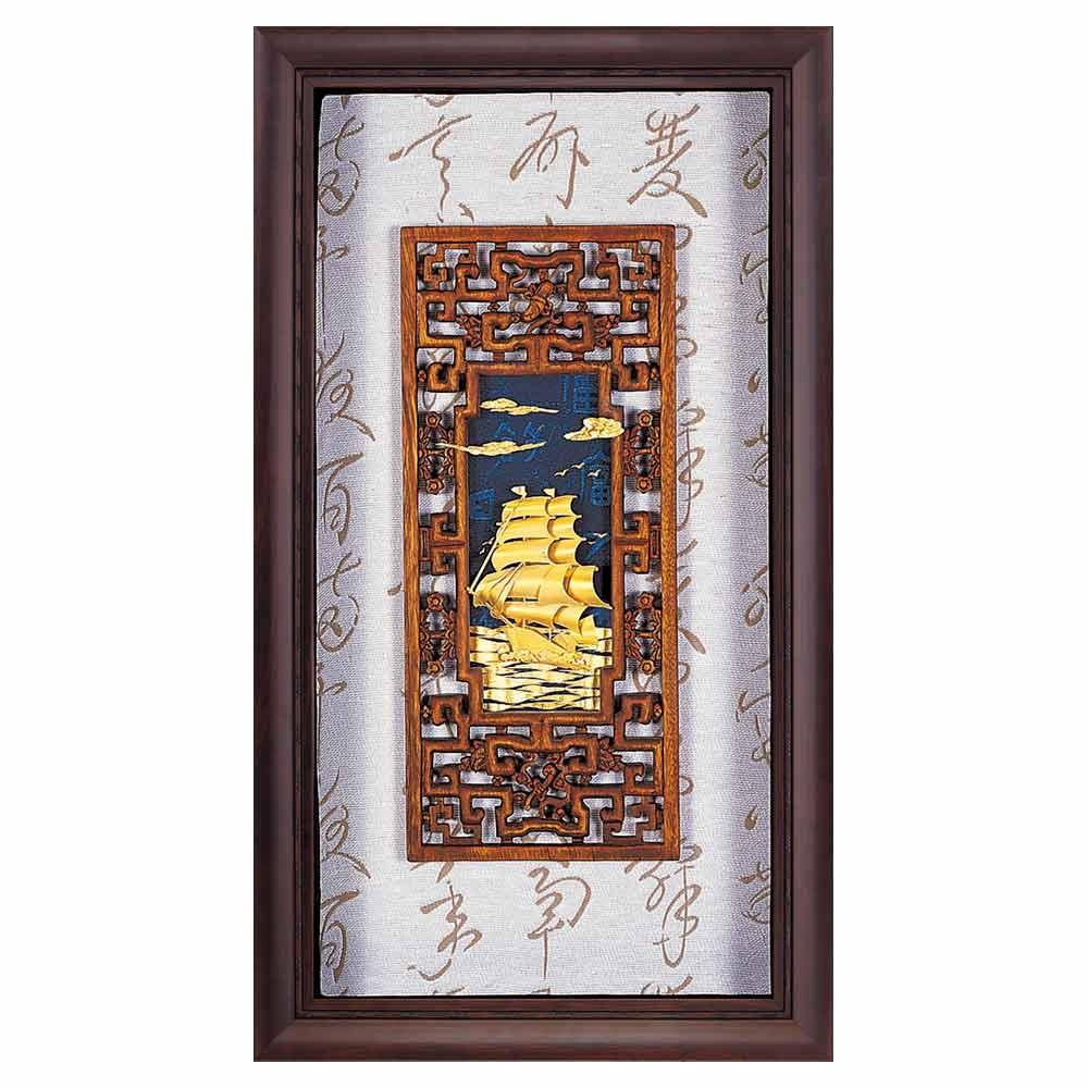 鹿港窯-立體金箔畫-一帆風順(禪風系列39x69cm)