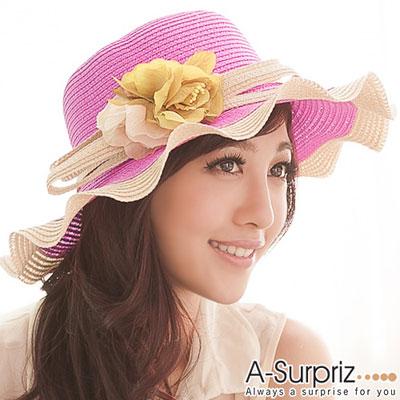 A-Surpriz 花漾美人波浪邊遮陽帽(漾甜桃)