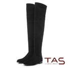 TAS 異材質拼接裝飾拉鍊低跟膝上靴-經典黑
