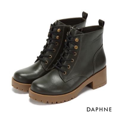 達芙妮DAPHNE 短靴-繫帶雙鉚釘馬丁短靴-橄欖綠