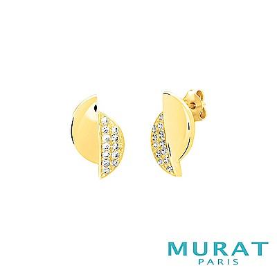 MURAT Paris米哈巴黎 質感交錯半月型耳環(金色款)
