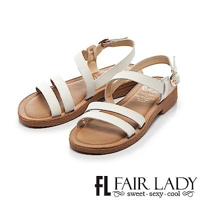Fair Lady Soft Power軟實力 百搭細版雙繫帶平底涼鞋 白