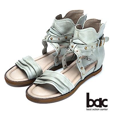bac復古時尚帥氣鉚釘真皮羅馬涼鞋-淺灰