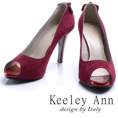 Keeley Ann高雅奢華~魅力菱形水鑽墜飾素面高跟魚口鞋(紅色)