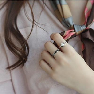梨花HaNA-韓國925銀繩結珍珠復古泰銀戒指二件