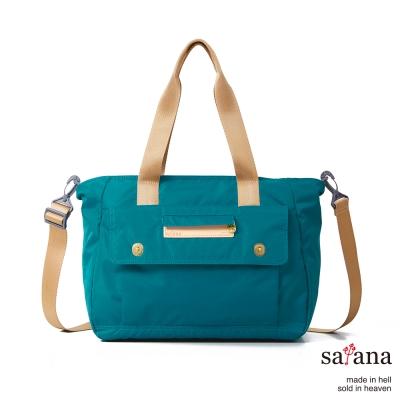 satana - 側背托特包 - 水鴨綠