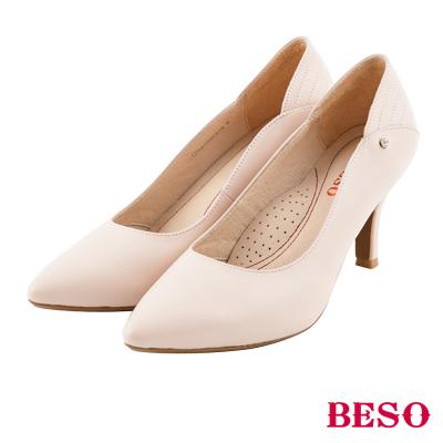 BESO 完美曲線 全真皮閃耀單顆美鑽跟鞋~粉紅