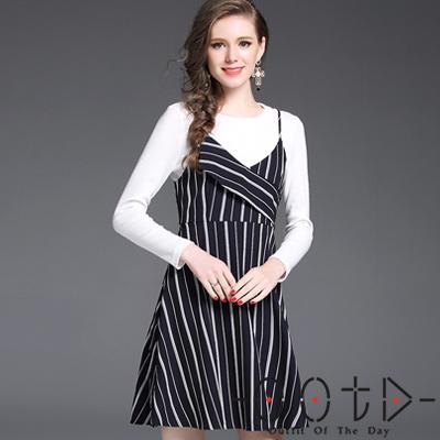 圓領長袖毛衣+拼接條紋吊帶裙兩件套 (白色+條紋)-OOTD