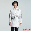 BOBSON  男款長型寬版印圖襯衫-白色