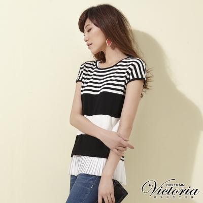 Victoria 真兩件式條紋短袖線衫-女-黑白條
