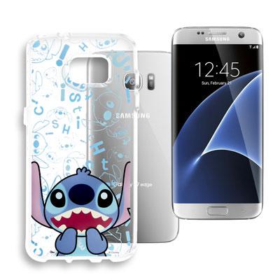 迪士尼 Samsung Galaxy S7 edge 大頭透明手機軟殼(摀嘴史迪...