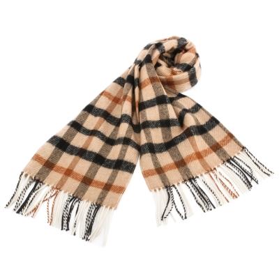 DAKS 經典大格紋混色羊毛圍巾-駝色
