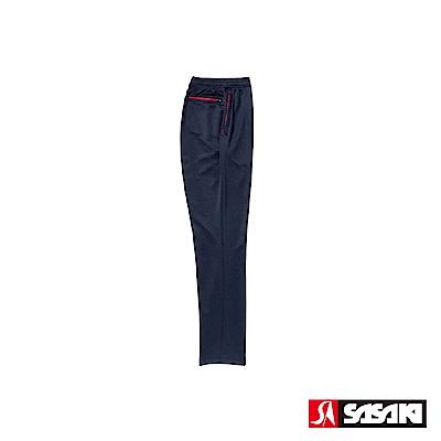 SASAKI 吸濕排汗功能伸縮針織運動長褲(直筒)-男-丈青/紅