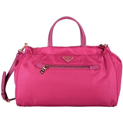 PRADA-尼龍-兩用-手提包-桃紅色