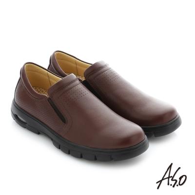 A.S.O 挺力氣墊 真皮直套式鬆緊帶機能休閒鞋 咖啡色