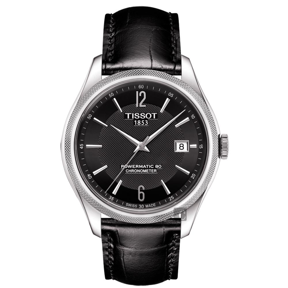 TISSOT天梭 Ballade COSC 80小時矽游絲機械腕錶-黑/41mm T1084081605700