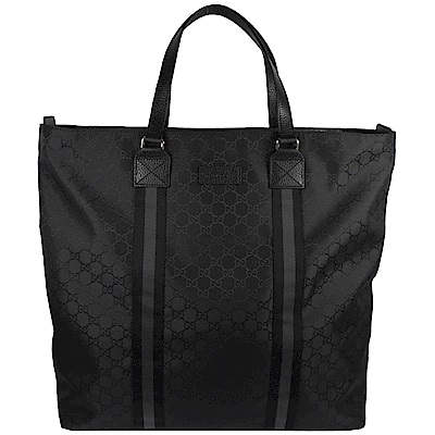 GUCCI GG LOGO織布拉鍊直式購物包(黑)