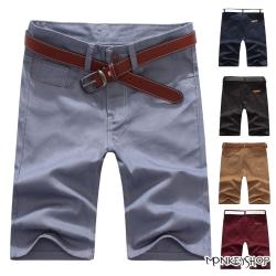 小猴子的賣場  繽紛簡約款後口袋皮標拼接素面休閒短褲-6色