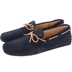 TOD'S Gommino Driving 打洞麂皮編織綁帶豆豆鞋(男鞋/黑夜藍)