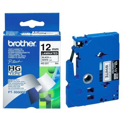Brother HG-231 高速列印護貝標籤帶 ( 12mm 白底黑字 )