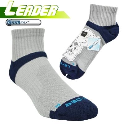 LEADER COOLMAX 除臭 機能運動襪 灰藍
