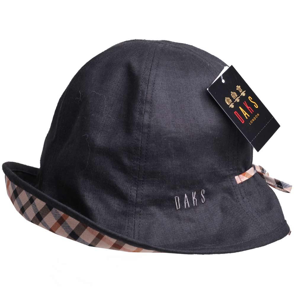 DAKS 抗UV科技纖維字母刺繡格紋蝴蝶結漁夫帽(黑)