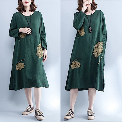 文藝墨綠精緻刺繡連衣裙-F-Keer